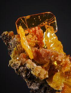 Wulfenite and Mimetite - San Francisco Mine, Cucurpe Sonora, Mexico    mw