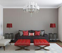 hellgraue Wandfarbe Kronleuchter Teppich rot