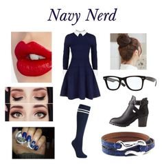 """Navy Nerd"" by flowerpower2134 on Polyvore featuring Alice + Olivia, John Lewis, Charlotte Russe, Pin Show, Charlotte Tilbury and Ippolita"