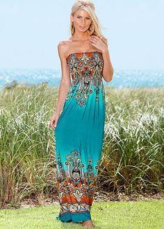 Strapless print maxi dress..so cute!!!