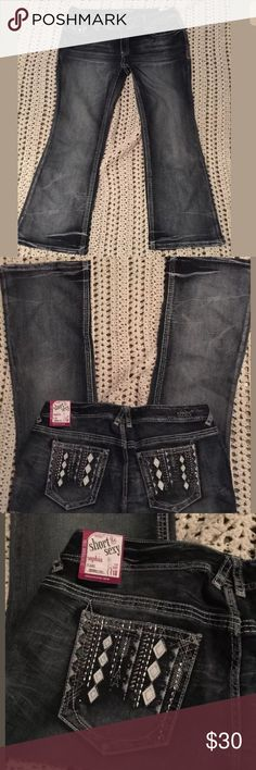 """Women's Plus sz. 18 embellished Series Jeans NEW❤️ New w/tags!!! SUPER AWESOME women's plus sz. 18 ~stylish thicker stitched jeans! Made by Series, these are a dark wash blue w/factory distress, washed look, a hint of shiny embellished stones on the pockets, along w/a white leather like diamond designs, awesome hardware, cut, neat stitching & cool color & pockets! These are Super comfy, stretch & just enough pizazz! ❤️these! These are """"Series- short & sexy """"Sophia"""" flare jeans- Short & sexy…"""