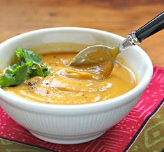 Butternut squash, peanut and chipotle soup: African flavors with a hint of Mexico from The Perfect Pantry.