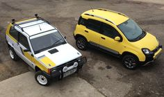 Our Fiat Panda 4x4's, his & hers, old & new.
