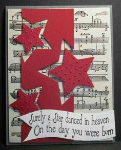 Dancing Stars by francliff - Cards and Paper Crafts at Splitcoaststampers handmade card . red column with off the edge die cut stars . Star Cards, Masculine Cards, Baby Cards, Scrapbook Cards, Homemade Cards, Stampin Up Cards, Cardmaking, Birthday Cards, Christmas Cards