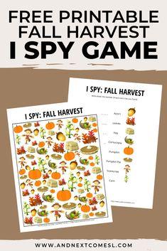 Fall Harvest Themed I Spy Game {Free Printable for Kids}