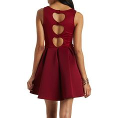 Charlotte Russe Pleated Scuba Skater Dress ($45) ❤ liked on Polyvore featuring dresses, burgundy, red skater dress, red flare dress, burgundy party dress, pleated dress and party dresses