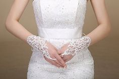 Wedtrend Women's Wrist Length Lace Fingerless Rhinestone Bridal Gloves
