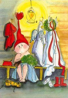Santa Guests by Virpi Pekkala Angel Illustration, Christmas Illustration, Cute Illustration, Swedish Christmas, Christmas Elf, Scandinavian Gnomes, Woodland Creatures, Whimsical Art, Christmas Pictures