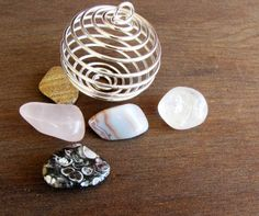 Silver Spiral Ball Pendant 5 Gem tumbled by TravelingGypsies