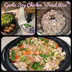 "Garlic and Soy Chicken ""Fried Rice"" - The Road to Loving My Thermo Mixer Soy Chicken, Chicken Rice, How To Cook Chicken, Fried Chicken, Garlic Chicken, Asian Recipes, Healthy Recipes, Ethnic Recipes, Healthy Food"