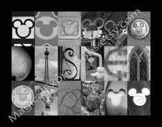 Disney With Hidden Mickey's  (Walt Disney World) Alphabet Photography Letter Art Print 11 by 14