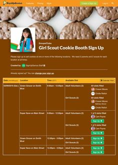 It's Girl Scout cookie time! This online sign up is perfect for scheduling volunteers for your troop's cookie booth.