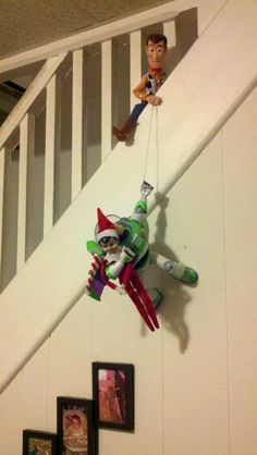 Elf on a shelf lifesaving woody and buzz - shelf ideas A Shelf, Shelves, Kids Shelf, Shelf Elf, Woody Und Buzz, Elf Auf Dem Regal, Awesome Elf On The Shelf Ideas, Shelf Inspiration, Elf On The Self