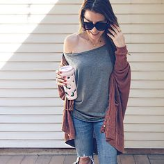 National Coffee Day in Off the Shoulder Top + Oversized Sweaters featuring Rebecca Minkoff x Stella & Dot IG @jillianrosado