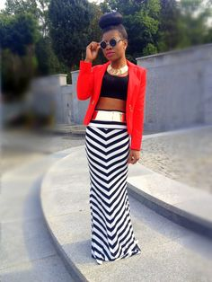 high waisted maxi skirt and crop top