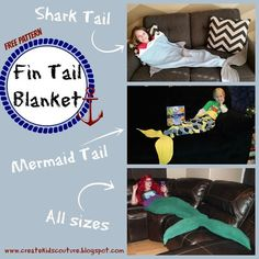 Shark / Mermaid Tail Blanket  Free Pattern rated Beginner Use fleece for a comfy blanket!  Perfect for boys, girls, and even adults!: