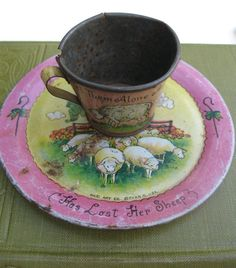 Little Bo Peep ChildsTeacup and Plate Litho Toy Tin by PoemHouse, $21.00