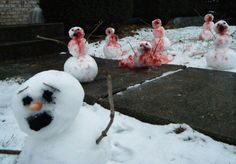 Snowman Zombie Apocalypse.  I'm suddenly SOOOOO excited the snow is falling outside!!!   This is gonna be my front yard!