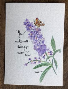 An Original Watercolor Butterfly Bush with Butterfly and