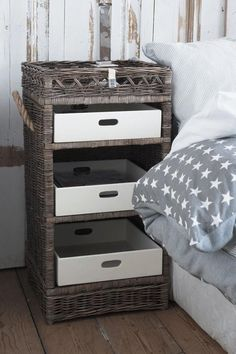 For the phone/internet stuff? Rattan Furniture, Upcycled Furniture, Rivera Maison, Drawer Table, Parents Room, Newspaper Basket, Small Space Organization, Shabby Vintage, Bedroom Bed
