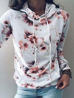 Chicnico Casual Floral Print Hoodie Long Sleeve Top