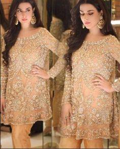 Beige Hand Embroidery Chiffon Dress, Mina Hasan Formal 2017 inspired, Pakistani Wedding, Pakistani Bridal, Indian Wedding Dress by KaamdaniCouture on Etsy