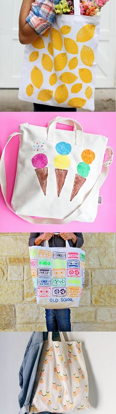 15 Hand Stamped Canvas Tote Bag DIYs with links to tutorials. Simple to make and perfect for DIY parties!