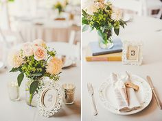peach garden rose centerpieces