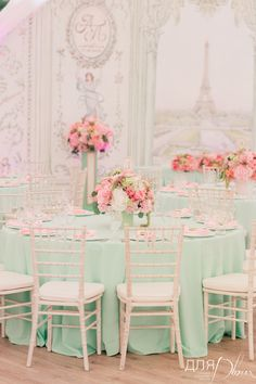 mint and pink wedding reception, pastel wedding decor