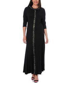 Love this Black Silver Contrast Stripe Maxi Dress - Plus on #zulily! #zulilyfinds