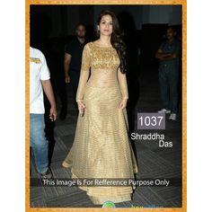 Shraddha Das Gold Designer Bollywood Replica Floor Length Anarkali Suit