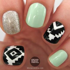 Love this Glitter Aztec Nail Art!