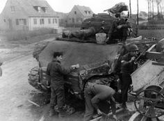 """Sherman Spam: Concrete """"applique armor"""" being applied to a..."""