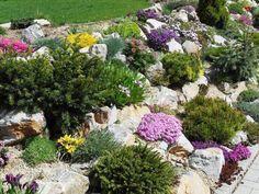 Vylepšete si svou zahradu nebo dvůr: nádherných inspirací na vytvoření zahradních ostrůvků! Small Garden Arbour, Rockery Garden, Sloped Garden, Garden Arbor, Garden Paths, Hillside Landscaping, Front Yard Landscaping, Apartment Decoration, Persian Garden