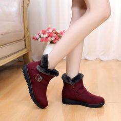 b89dad04e97b Winter Women Ankle Boots New Fashion Flock Wedge Platform Winter Warm Red  Black Snow Boots Shoes For Female Plus Size 40 41
