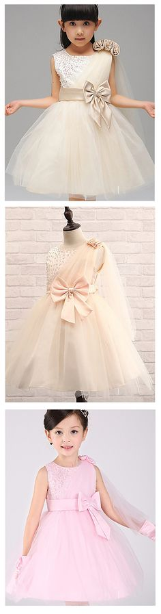 Charming bow waist floral embroidered tulle - satin flower girl/ pageant dress for special occasion. Comes in champagne, pink, blue, fuchsia, purple colors at affordable price of $24.99. Click on the picture to see the colors.