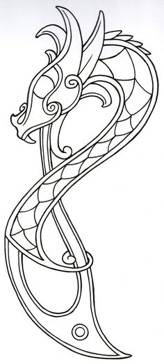 Viking Dragon Outline2 by vikingtattoo.deviantart.com on @deviantART: