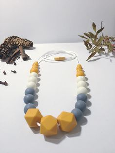 Collier pour maman en perles de silicone, Collier allaitement, Nursing necklace, Breastfeeding Necklace, Chewy, Teething necklace, collier de dentition, Silicone beads, silicone food beads, mango, baby shower