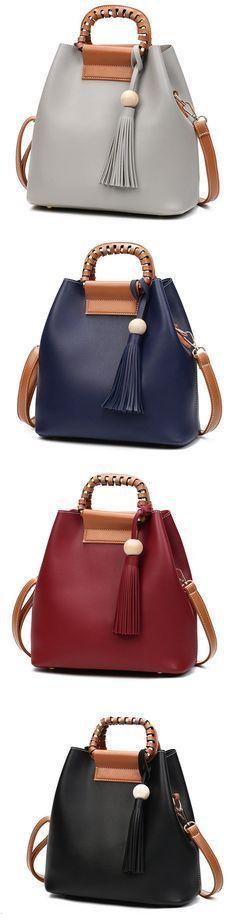 US$25.79 Stylish PU Leather Handbag Bucket Bag Shoulder Bags Crossbody Bags For Women