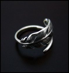 Feather Ring  High Quality by SilverJewelryShop on Etsy (I need this)