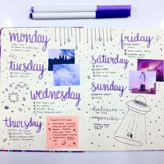 purple w/ pictures bujo bullet journal week spread