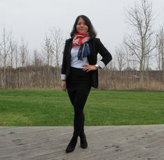 In skirt and blazer