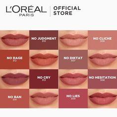 Loreal Lipstick Colors, Orange Lipstick Makeup, Matte Lipstick Shades, Best Lipstick Color, Maybelline Lipstick, Nude Lipstick, Lipstick Guide, Matte Lipsticks, Makeup Dupes