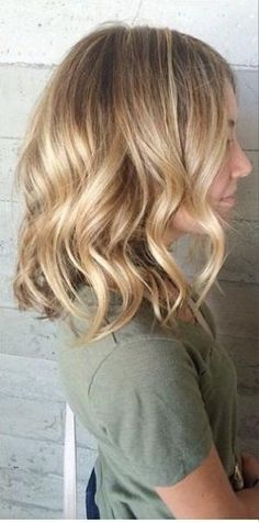 blonde balayage medium length by rena