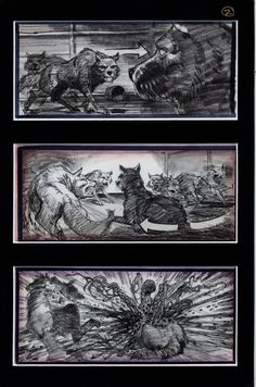 Mike Ploog's  storyboards of the dog kennel attack sequence in John Carpenter's The THING