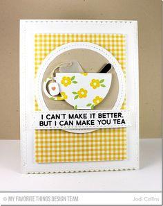 card cup tea cups spoon teabag MFT tea cup MFT tea party Die-namics #mftstamps three umbrellas