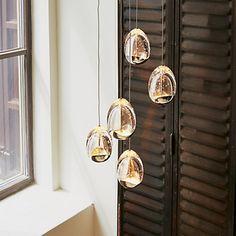Egg Suspension 5 lumières LED ACIER/VERRE D30cm Suspension Design, Lumiere Led, Luminaire Design, Glass Pendants, Decoration, Interior Design Living Room, Wind Chimes, Kitchen Cabinets, Ceiling Lights