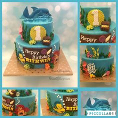Under the sea cake, little mermaid, dolphin 2d and 3D toppers made from modeling chocolate , first birthday celebration