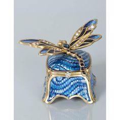 Jay Strongwater Reese Dragonfly Box - Delft Garden