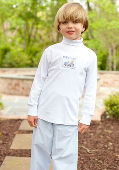 Boys Yellow Lab Smocked Turtle Neck for  $29. So cute with the light blue gingham pants !